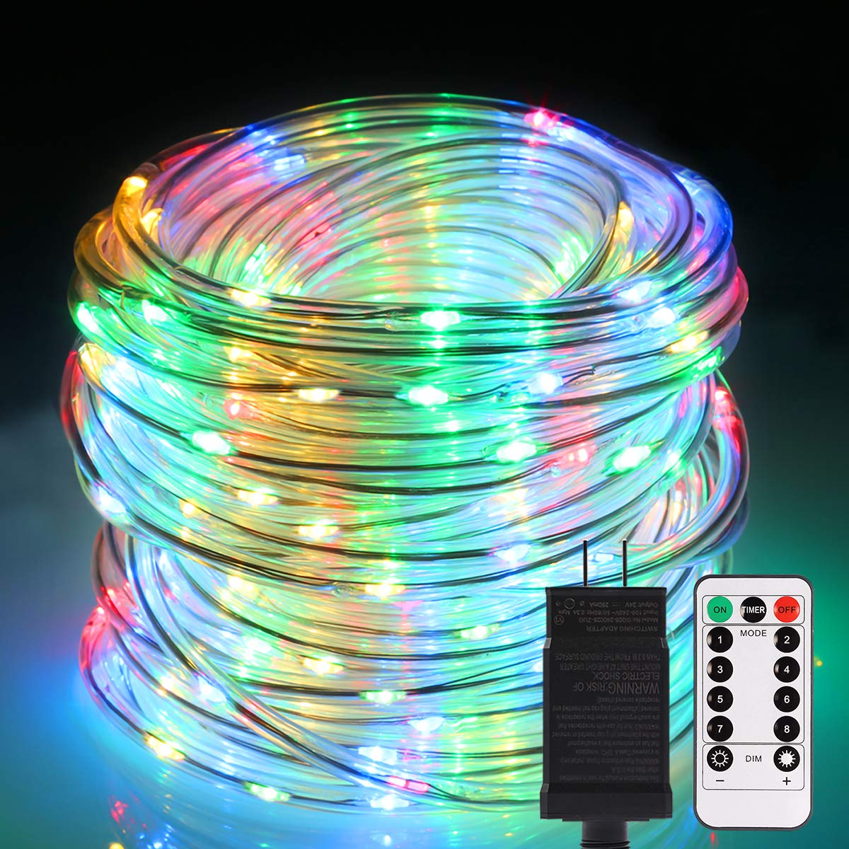 B-right Rope Lights Outdoor, 72ft 336 LED String Lights Plug in 8 Modes Extendable Dimmable Waterproof Rope String Lights for Party Patio Garden Tree Decor, ETL-Listed, Multicolor with Remote Control
