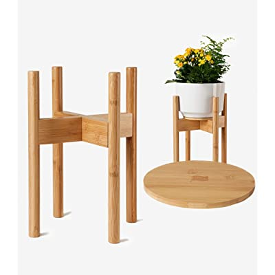 ZPirates Wood Plant Stand with Tray - Mid Century, Adjustable ( 9, 10, 11, 12 inch Pots) Weatherproof, Natural Bamboo - For Indoor Outdoor Planters and Flower Holders : Garden & Outdoor
