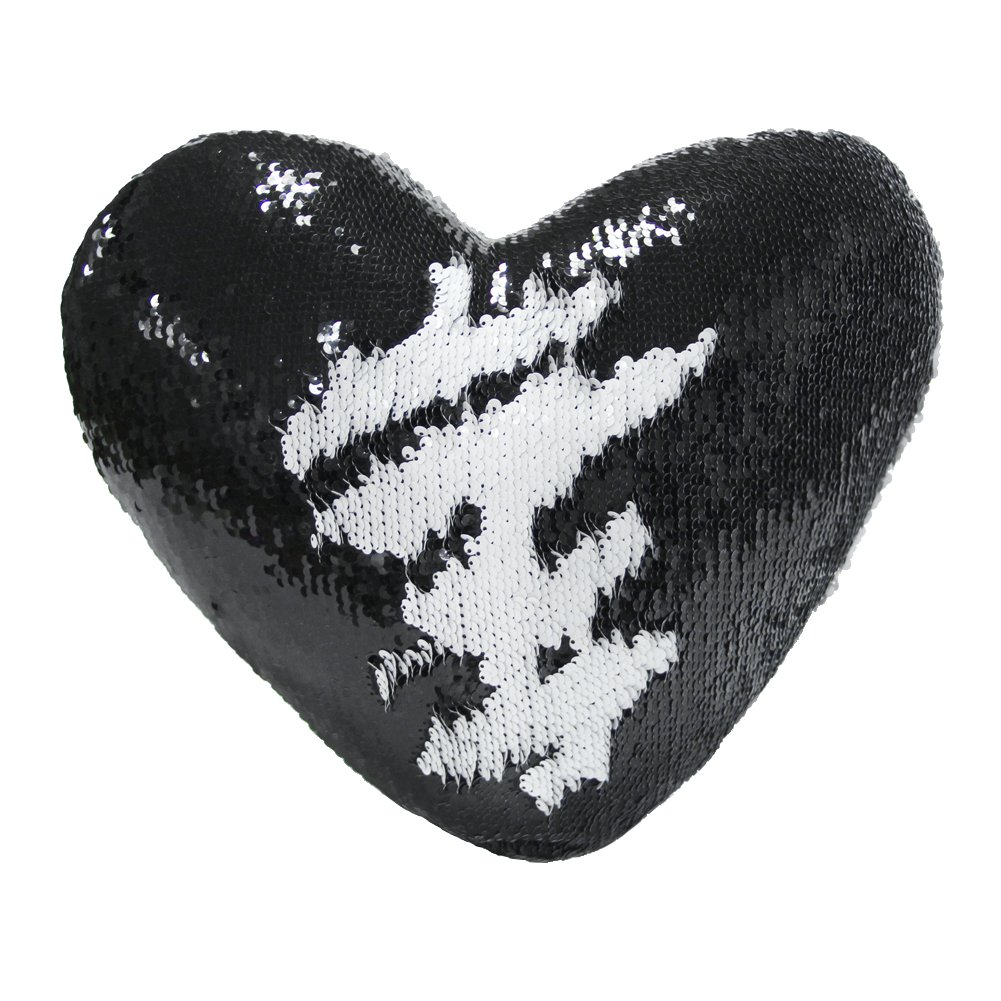 (Black+white) Mermaid Throw Pillow with Insert, Play Tailor Reversible Sequins Pillow Heart Shape Decorative Cushion B072KKKSN9 ブラック+ホワイト ブラック+ホワイト