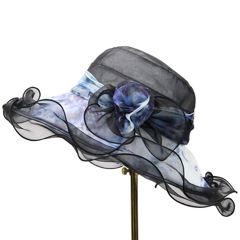 bluee Bow Flower Sun Hat, Highend Silk Hat, Big Sunscreen Sun Hat Woman, Casual Beach Silk Hat, 5658cm