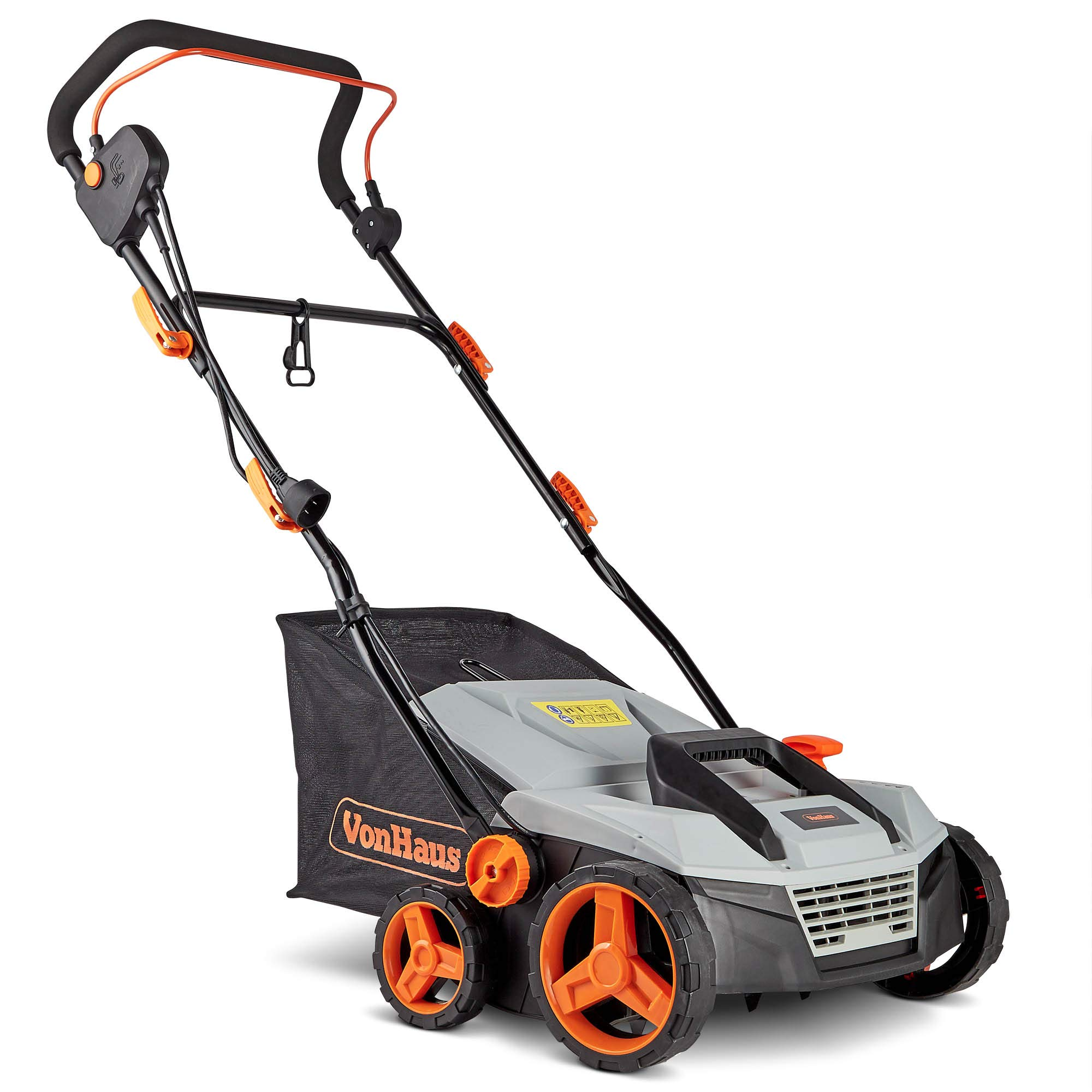 VonHaus 12.5 Amp Corded 15'' Electric 2 in 1 Lawn Dethatcher Scarifier and Aerator with 5 Working Depths and 45L Collection Bag - Perfect for Lawn Health and Maintenance