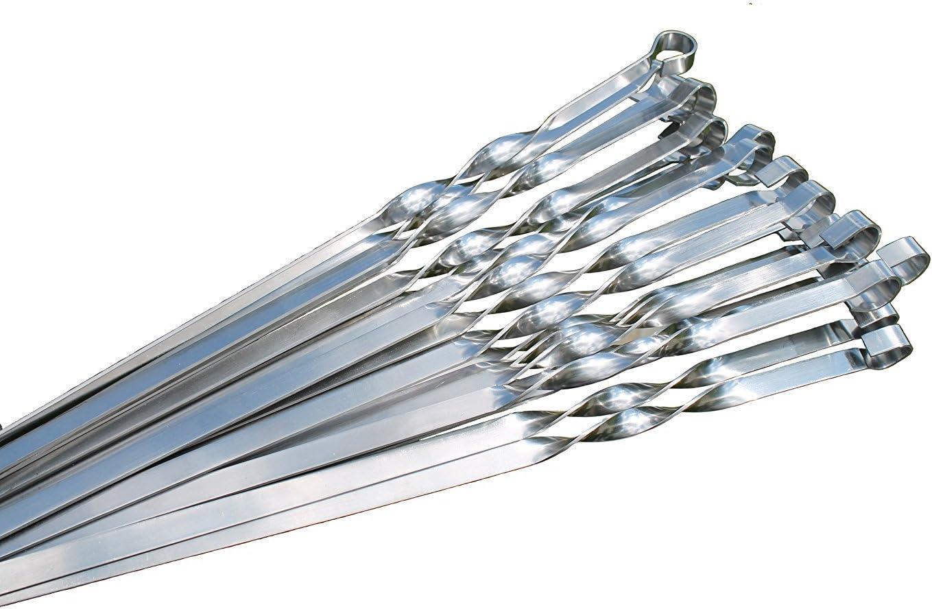 Parrilla pinchos para scha mpur de acero inoxidable para brochetas (Brochetas kebab Barbacoa/Grill para MANGAL Utensilios para barbacoa, 20 Stück 60 cm