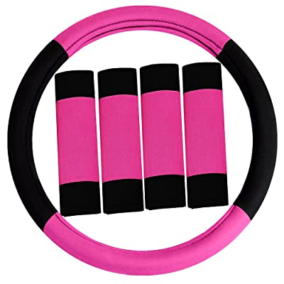 FH Group FH2033PINK Steering Wheel Cover (Modernistic and Seat Belt Pads Combo Set Pink): Automotive