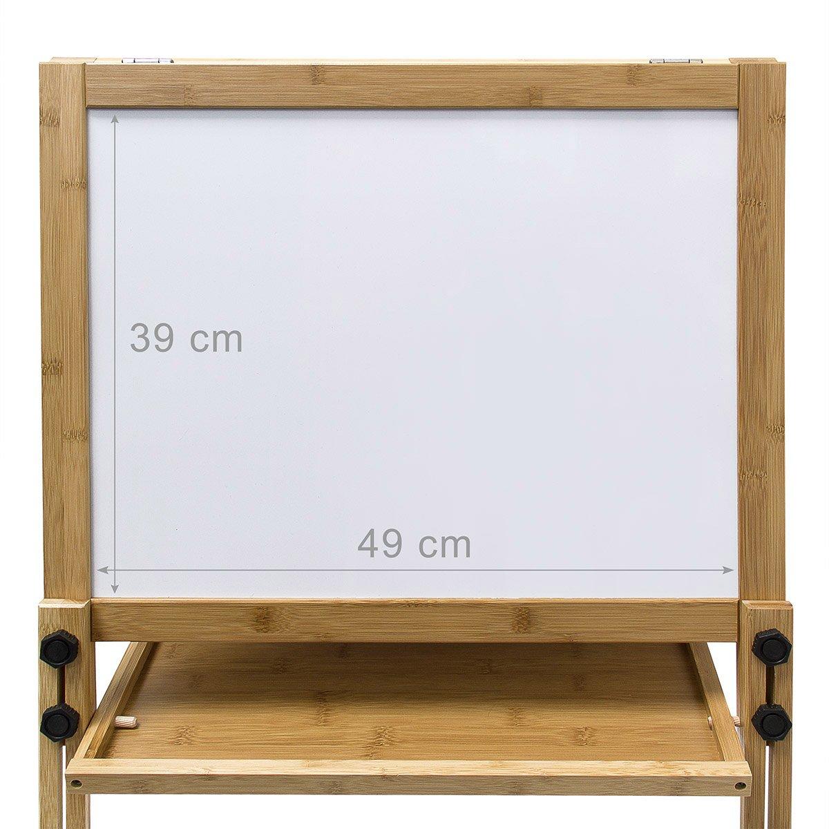 Relaxdays - Pizarra infantil + caballete, magnetizada, 93 x 56.5 x 56.5 cm, Altura ajustable, color blanco