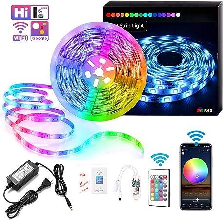 LED Strip 5050 16.4ft//5m  300Leds Alexa Smart Home Wifi Wireless Waterproof RGB