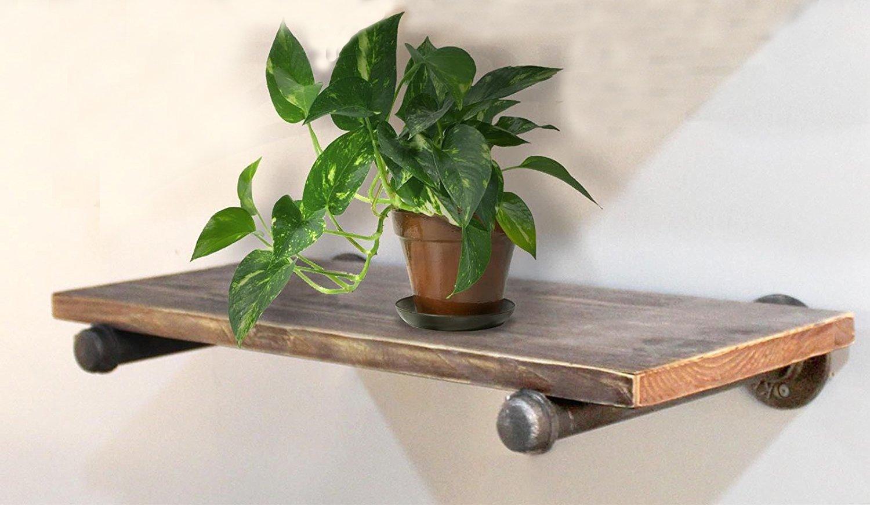 Industrial Rustic Wall Mount Iron Pipe Shelf Reclaimed Wood Storage Shelves Bookshelf 24''x10'' (Shelf Bookcase)