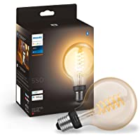 Philips Hue White Filament Single Smart LED Globe [E27 Edison Screw] with Bluetooth, Compatible with Alexa and Google…