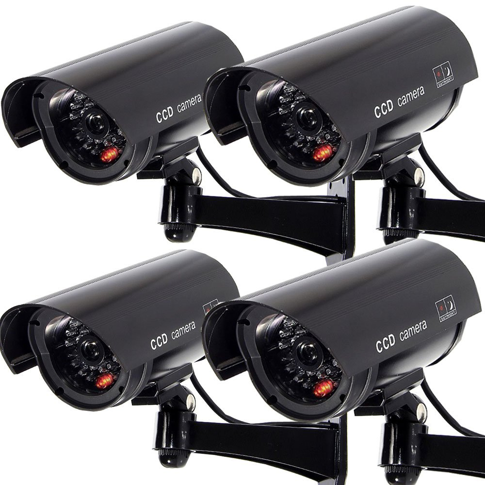 Masione 4 PACK OUTDOOR FAKE / DUMMY SECURITY CAMERA w/ Blinking Light CCTV SURVEILLANCE (Black) by Masione
