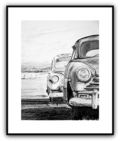 Amazon Com Old Cars Drawing Print 11 X 14 Handmade