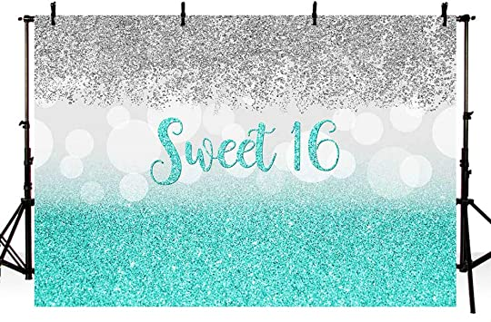 7x5ft Sweet 16th Birthday Backdrop for Party Glitter Blue 16 Birthday Background for Photography Bokeh Silver 16 Birthday Decorations for Girls Princess Cake Table Banner Sixteen Photo Booth Props
