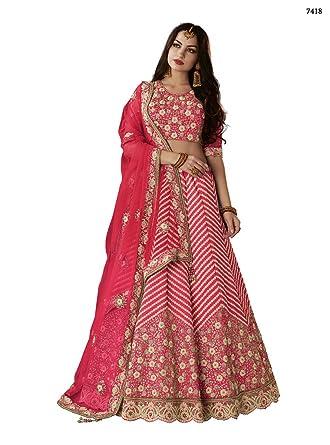 a7e84bdcbb1ee Amazon.com  Ethnicwear Latest Exclusive Silk Pink Color Zari Resham Cord  Embroidery Work Party Wedding Wear Designer Lehenga Choli  Clothing