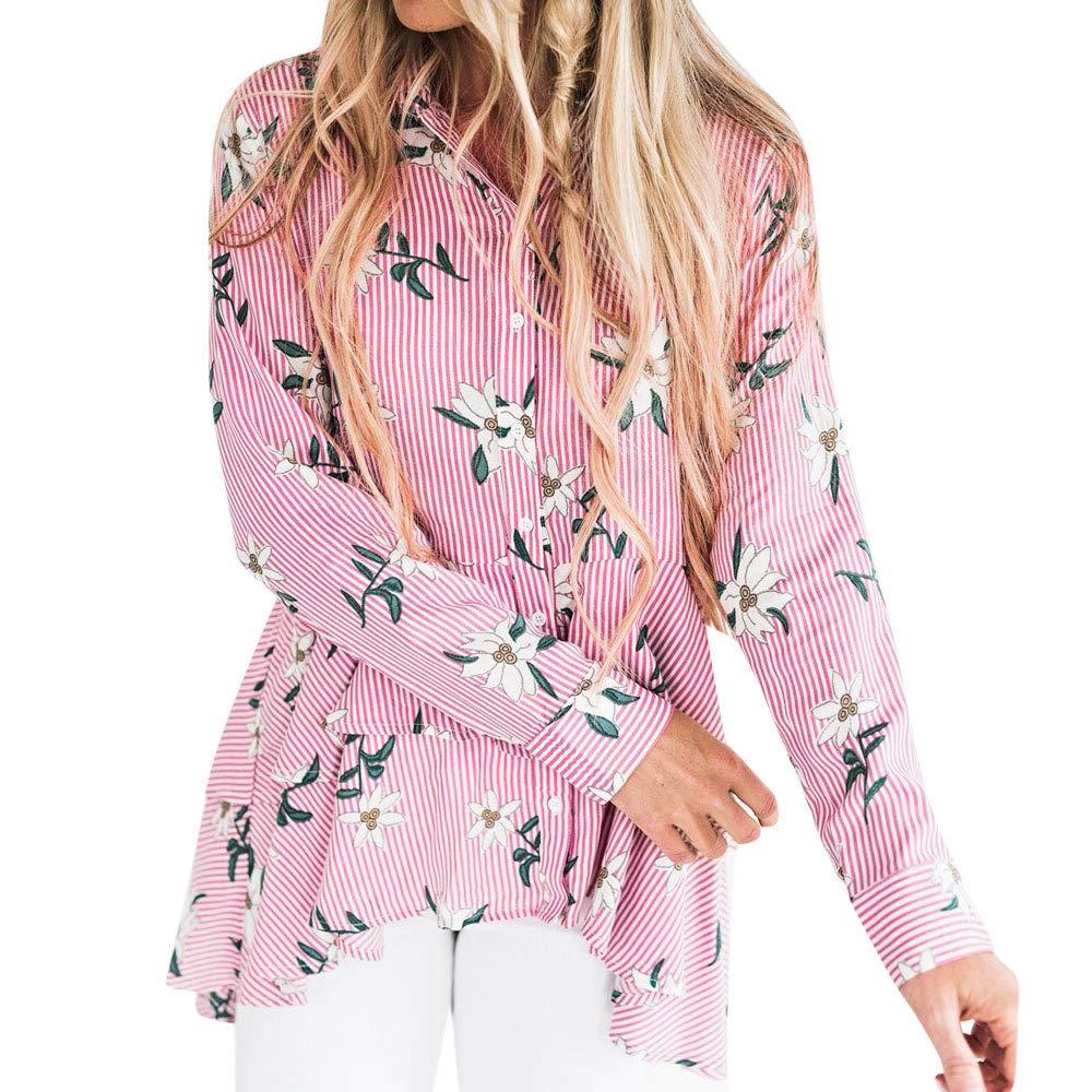 Molyveva Women Lady Casual Stripe Print T-Shirt Top Irregular Button Long Blouse Old Tree Store