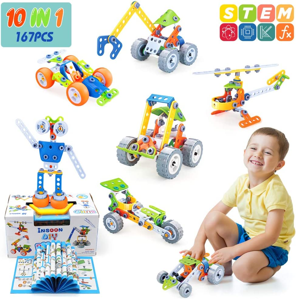 INSOON 10 in 1 STEM Toys for Kids Building Toys Kit ...
