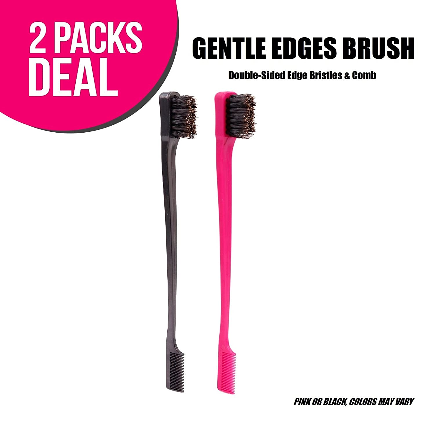 (2-PACKS) Gentle Edges Brush, Double-Sided Edge Bristles & Comb 2-in-1, Same as Camryn's BFF