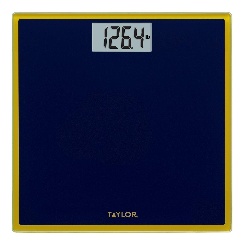 Taylor Digital Glass Bathroom Scale (Navy Blue w/ Gold Trim)