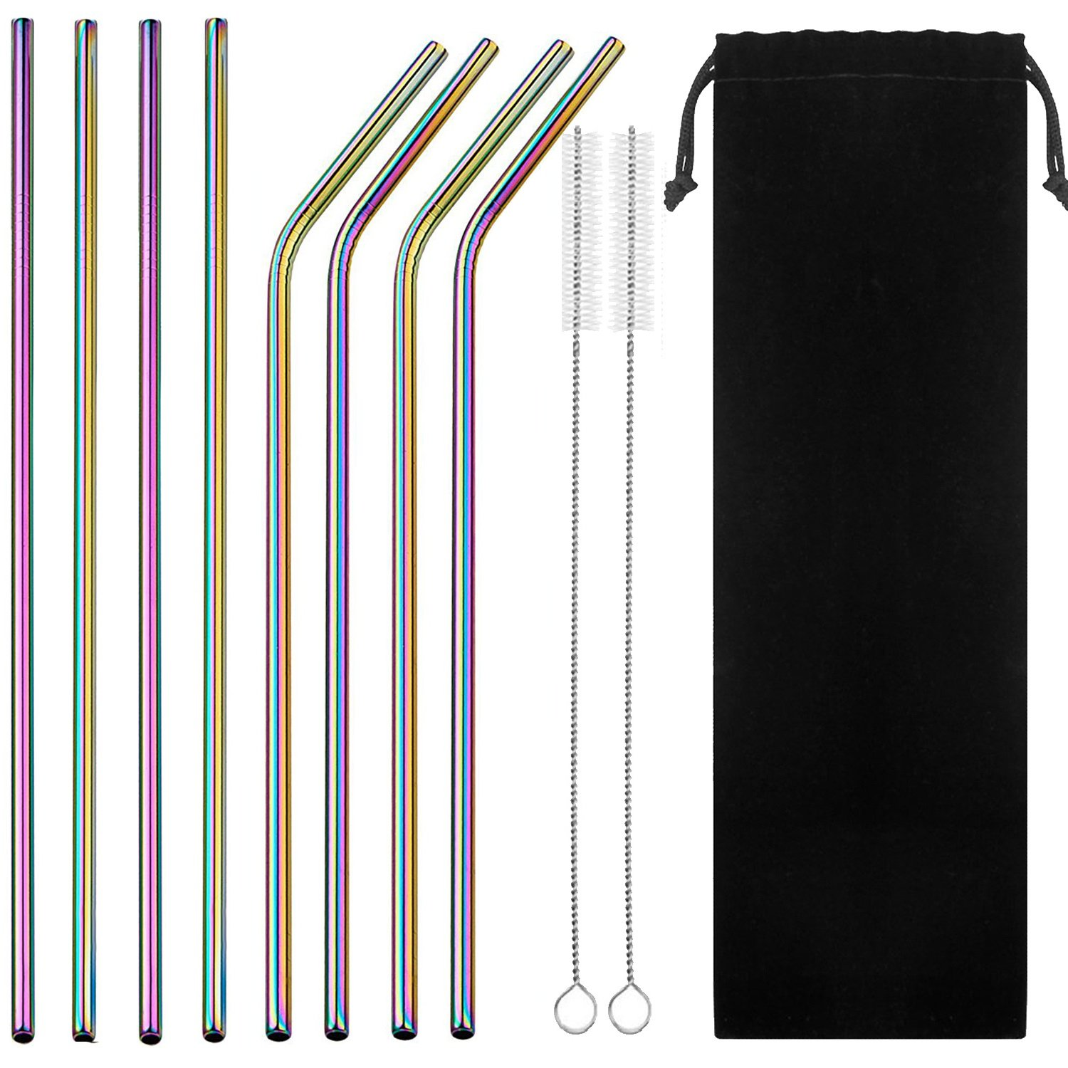 VEHHE Stainless Steel Straws 10.5'' Drinking Straws Metal Straws Reusable 8 Set - Ultra Long Rainbow Color-Cleaning Brush for 20/30 Oz for Yeti RTIC SIC Ozark Trail Tumblers (4 Straight|4 Bent|2 Brush) by VEHHE