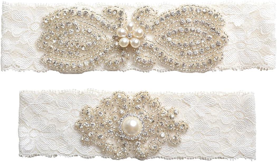 Wishprom Rhinestones Lace Wedding Bridal Garter Belt Set, Ivory