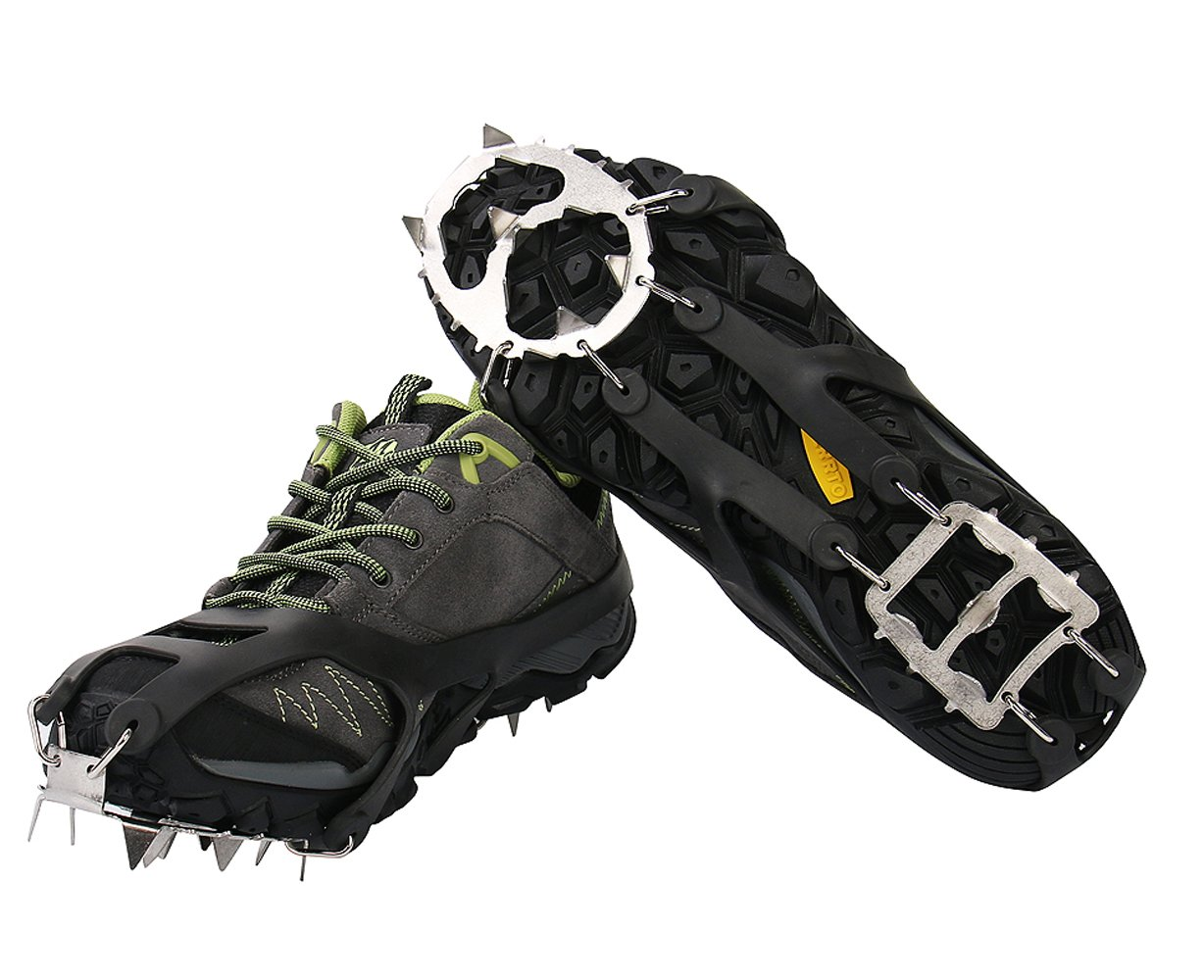 DaDaDa 25 Spikes Crampons Ice Cleats Traction Snow Grips for Boots Shoes,Anti-Slip Stainless Steel Spikes,Microspikes for Hiking Fishing Walking Climbing Jogging Mountaineering.