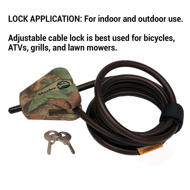 Master Lock Cable Lock, Python Adjustable Keyed Cable Lock, 6 ft ...