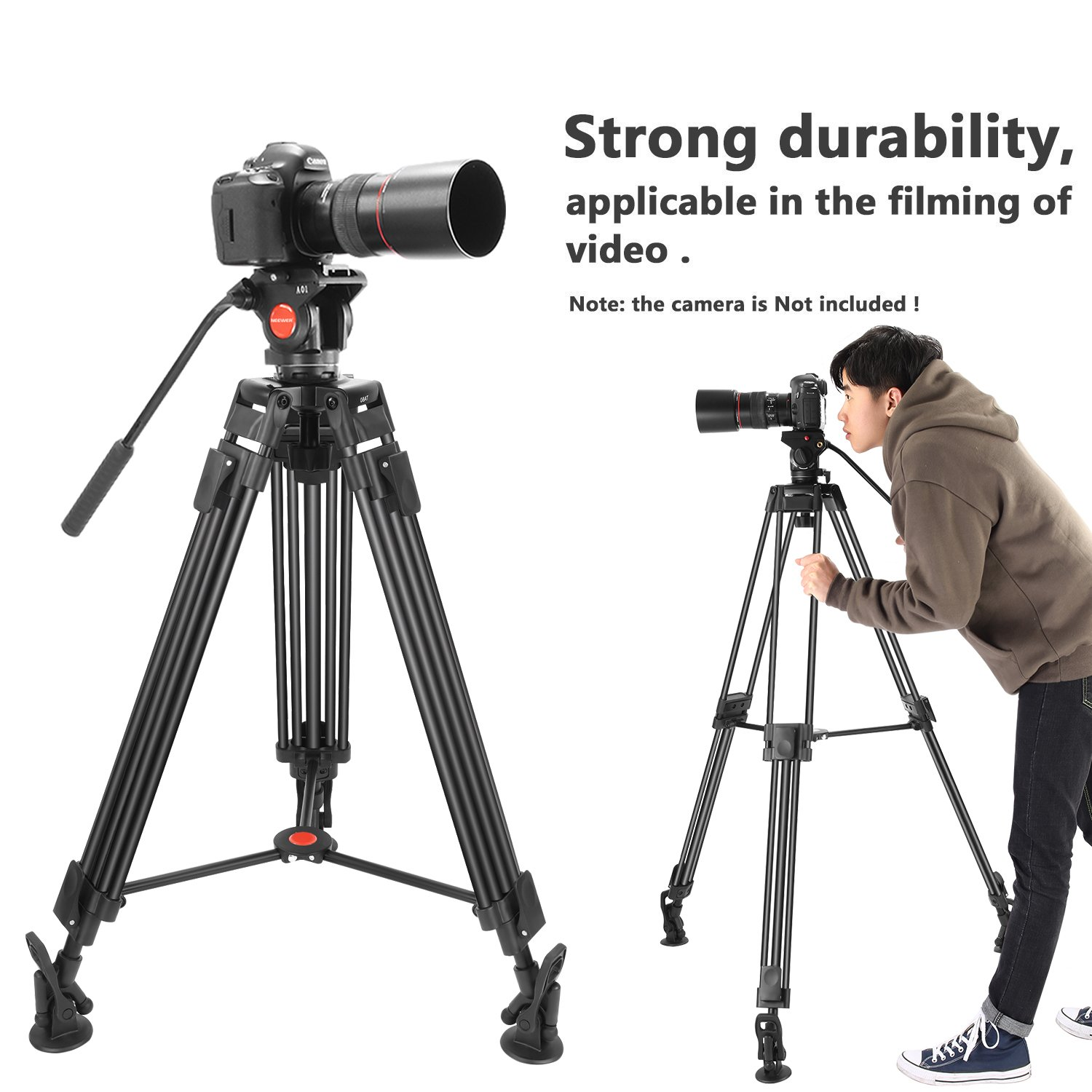 Neewer Professional Heavy Duty Video Camera Tripod,64 inches/163 Centimeters Aluminum Alloy with 360 Degree Fluid Drag Head,1/4 and 3/8-inch Quick Shoe Plate,Bag,Load up to 17.6 pounds/8 kilograms by Neewer