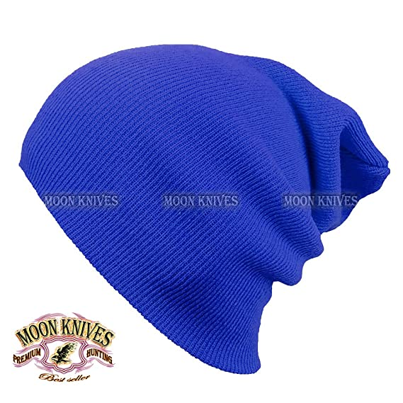 1baad65445c76f Cuff Beanie Knit Hat Winter Warm Cap Slouchy Skull Ski Hats Men Women Warm  Plain ROYAL BLUE by MOON KNIVES: Amazon.in: Clothing & Accessories