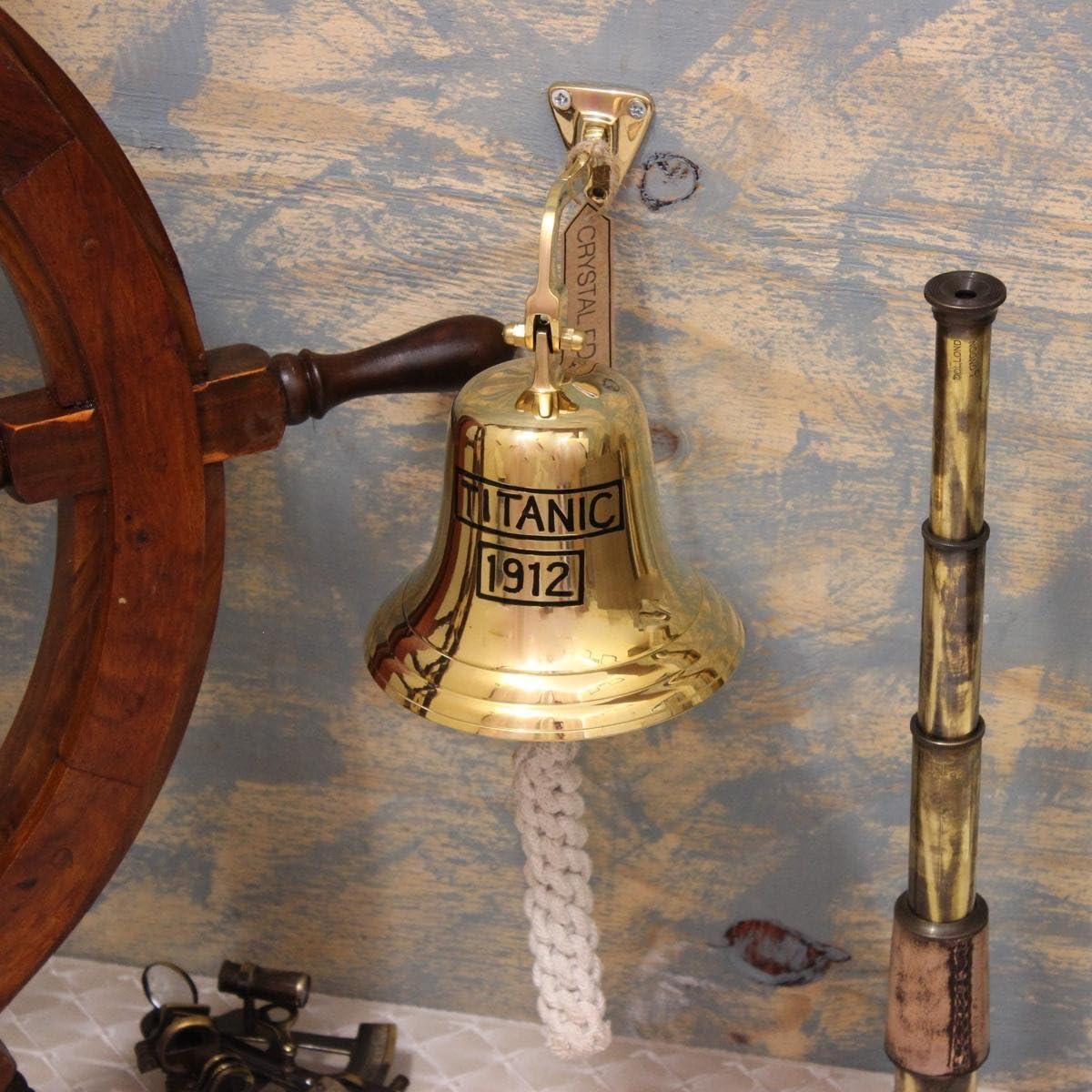 6  complet Laiton TITANIC cloche avec support et corde pour sonnante