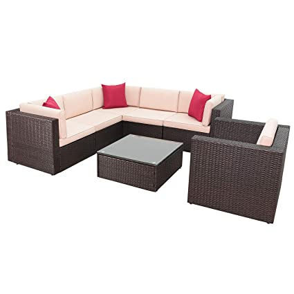 Amazon.com: Homall Outdoor Patio Furniture Sofa Set, All Weather PE ...