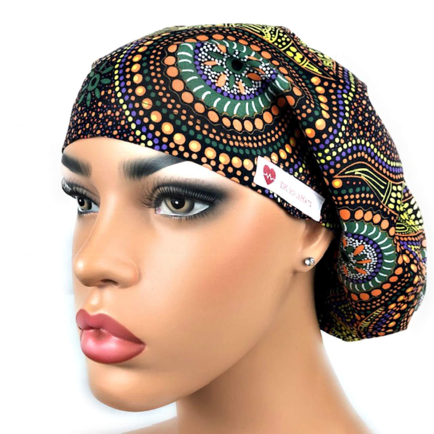 Women's Adjustable Bouffant Scrub Hat Ponytail Surgical Cap African Ankara Print by DK Scrub Hats