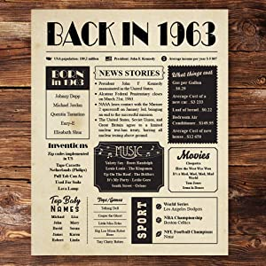 Back in 1963 Vintage Newspaper Poster Unframed 8x10 // 57th Birthday Gifts for Women, Men - Gift Ideas for 57 Year Old Man, Woman Under 10 Dollars - Birthday Decorations for Mom, Dad, Wife, Husband