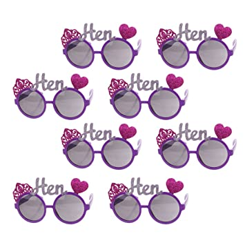 23d4431a5e P Prettyia Pack of 8pcs Unisex Adults Funny Crown Heart Hen Sunglasses  Goggles Girls Night out
