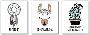 Brooke & Vine Llama Girl Room Wall Decor Art Prints (UNFRAMED 8 x 10) Kids Tween Teen Bedroom Bathroom Boho Nursery Wall Decor, Inspirational Wall Art, Motivational Quotes Posters - Dreamcatcher Alpaca Llama Cactus