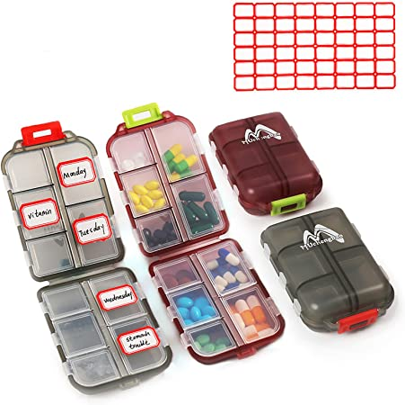 2 Pack Pill case Travel Pill Organizer, Pill Box for Purse Vitamin Fish Oil 10 Compartments Container Medicine Box by Muchengbao