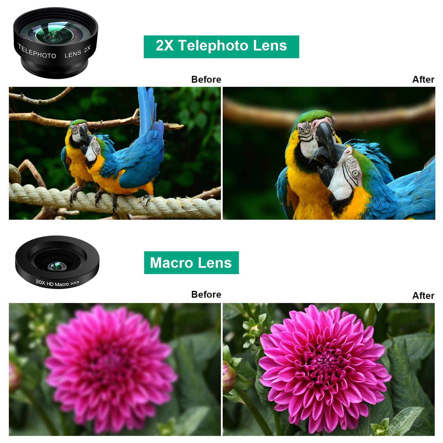 Phone Camera Lens Kit,9 in 1 Kaiess Super Wide Angle+ Macro+ Fisheye Lens +Telephoto+ CPL+Kaleidoscope+Starburst Lens for iPhone X/8/7/6s/6 Plus, Samsung,Android Smartphones(Matte Black) by Kaiess (Image #5)