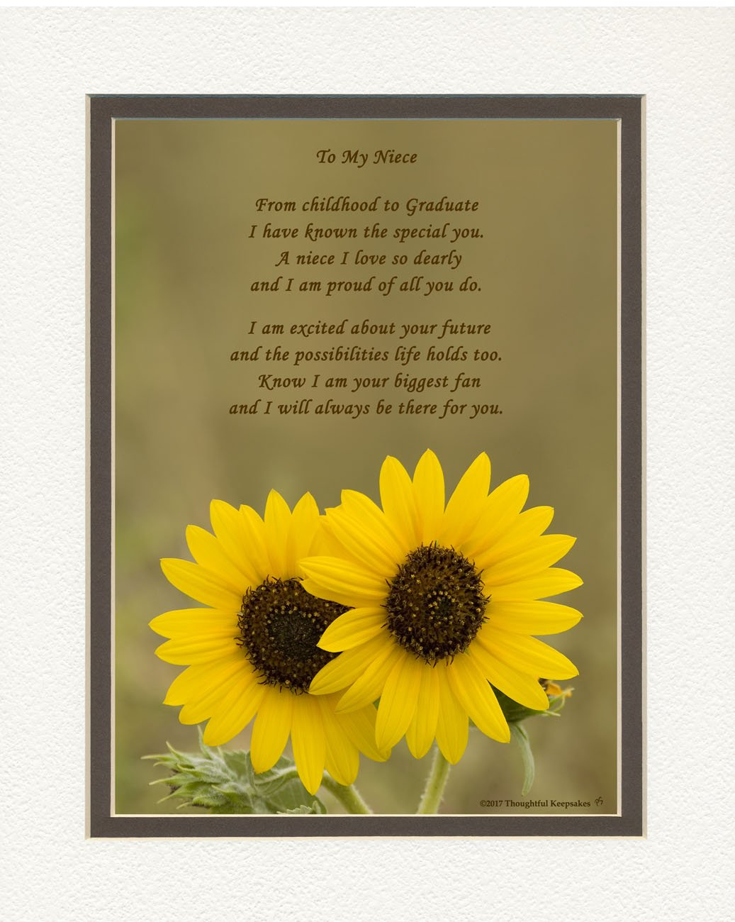 Graduation Gifts Niece, Sunflowers Photo with From Childhood to Graduate Poem, 8x10 Double Matted. Special Keepsake for Niece, Unique College and High School Grad Gifts for Niece.