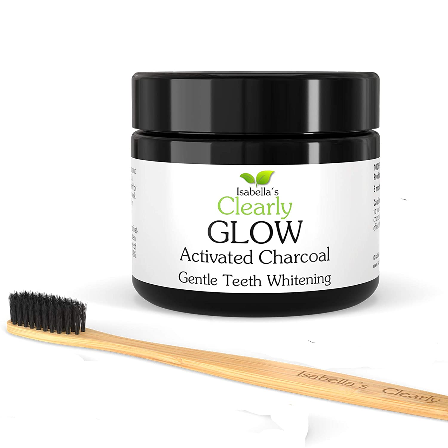 Clearly GLOW Teeth Whitening Activated Charcoal Powder + Soft Bamboo Toothbrush I 100% Pure Food Grade Natural Teeth Whitener I No Strips or Bleach I Made in USA