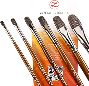 Pack of 9 Brand New Art Supplies Premium Long Handle Flat Brushes