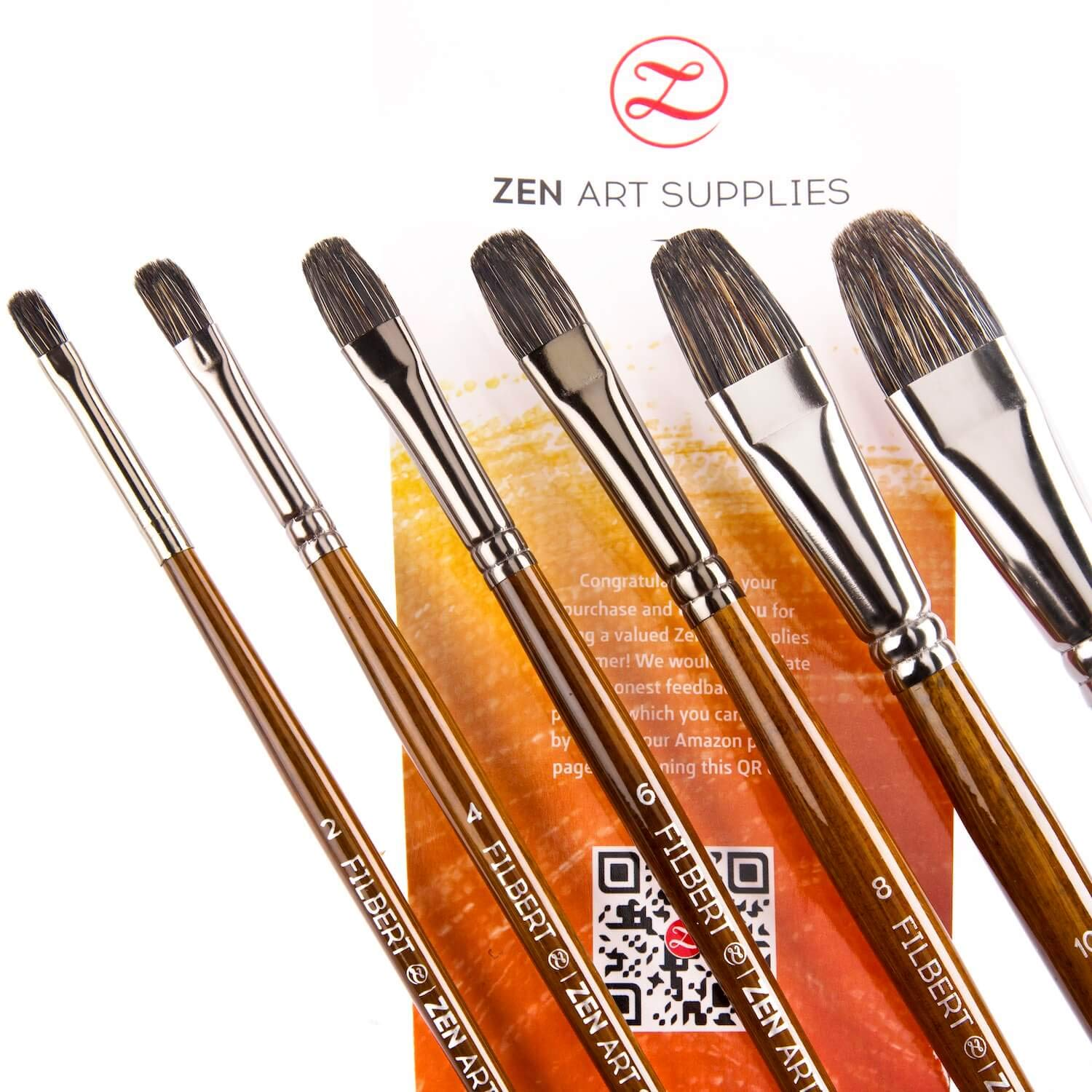 Professional Oil Paint Brushes (6-pcs Set) Filbert Brushes - Long-Lasting Natural Badger & Synthetic Blend - Acrylic Paint Brushes with Lacquered Birchwood Long Handles. Artist's Choice Collection by ZenART Supplies