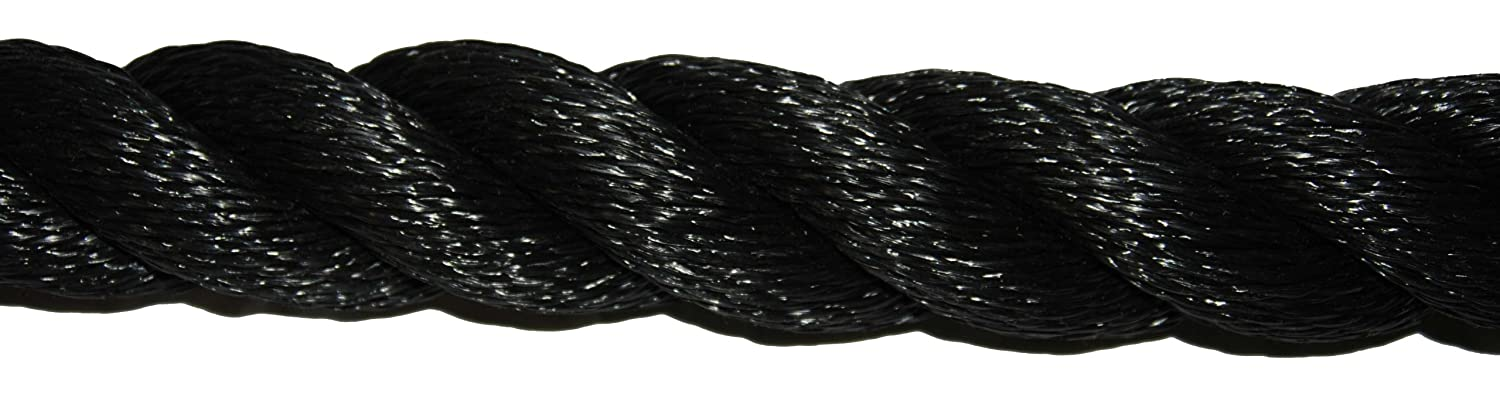 Evans Cordage 107650 2 Inch x 50-Feet Black Poly Training Rope T.W