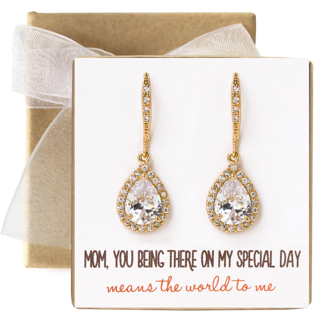 Mother of the bride Gift Drop Earrings or Jewelry set in Silver, Yellow Gold, Rose Gold