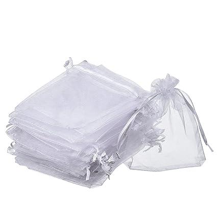 Bolsas de Organza de Regalo para Favores de Fiesta de Boda y Envoltura de Joyas (50 Piezas, 4 x 4,72 Pulgadas)