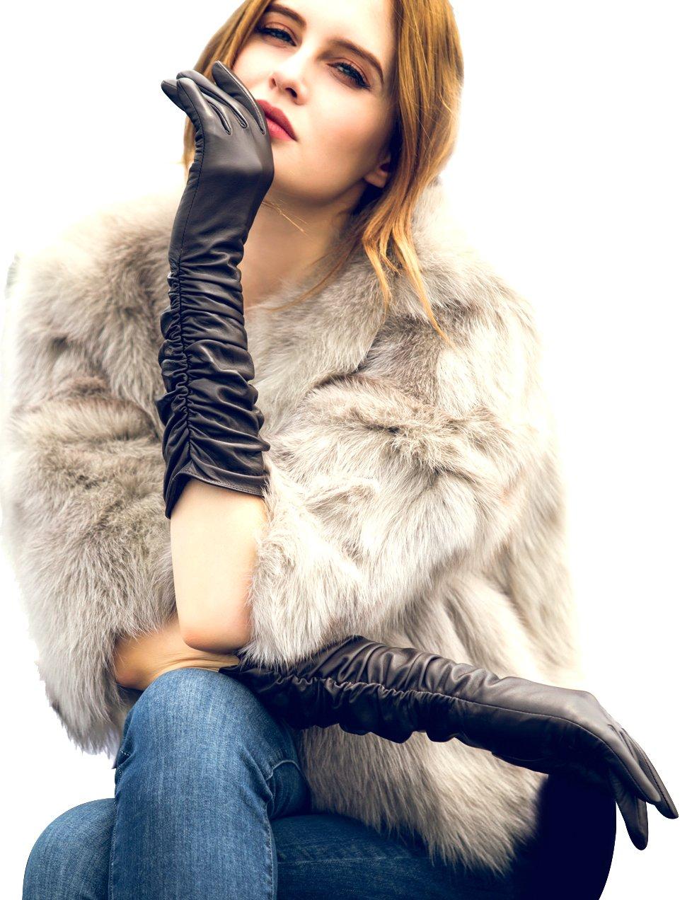 Women's Winter Touchscreen Warm Lined Long Evening Gloves, Italian Sheep Nappa 6.5''/S