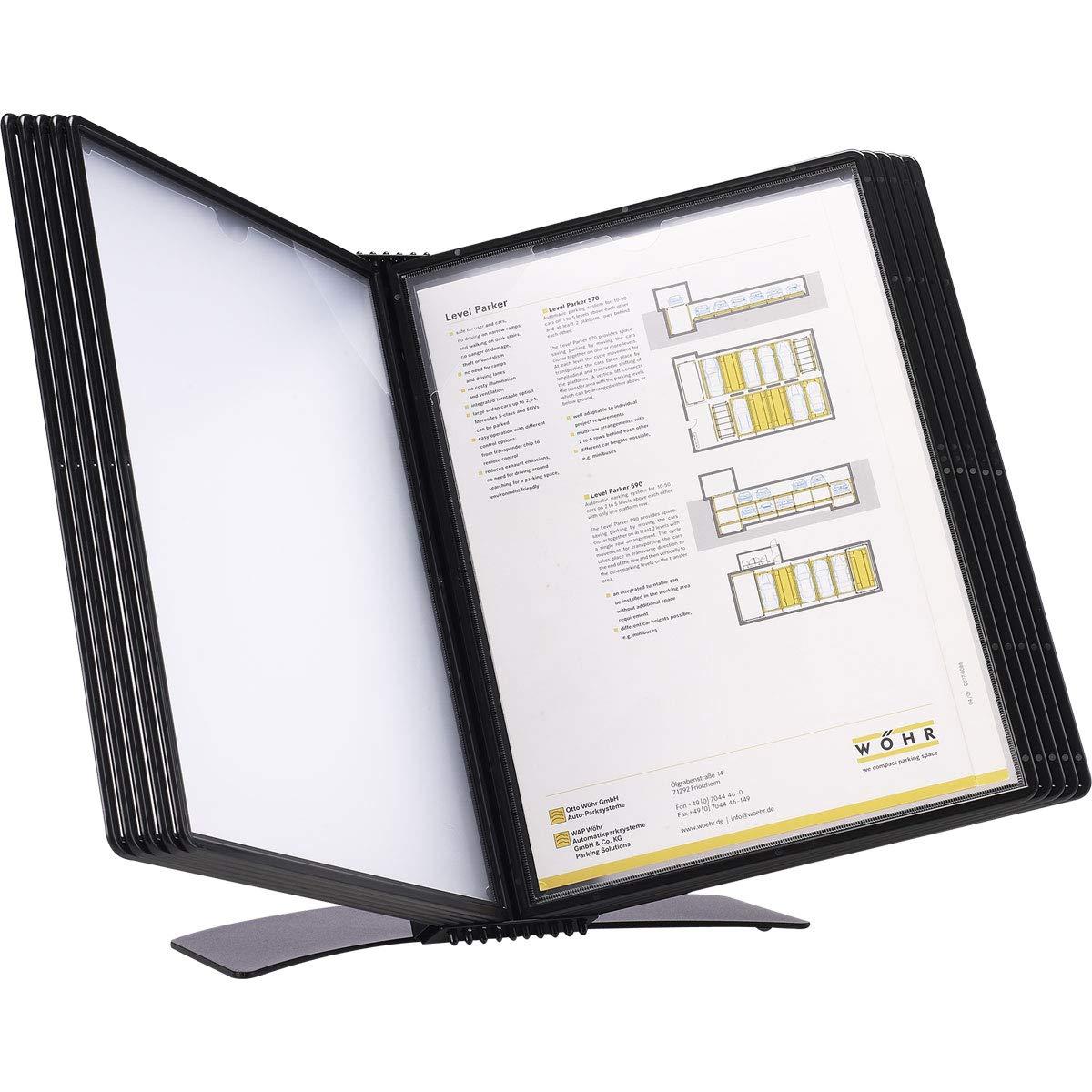 Tarifold Easy-Load Desk Display Unit with 10 Display Pockets, Black, 20 Sheet Capacity, (EZD771)