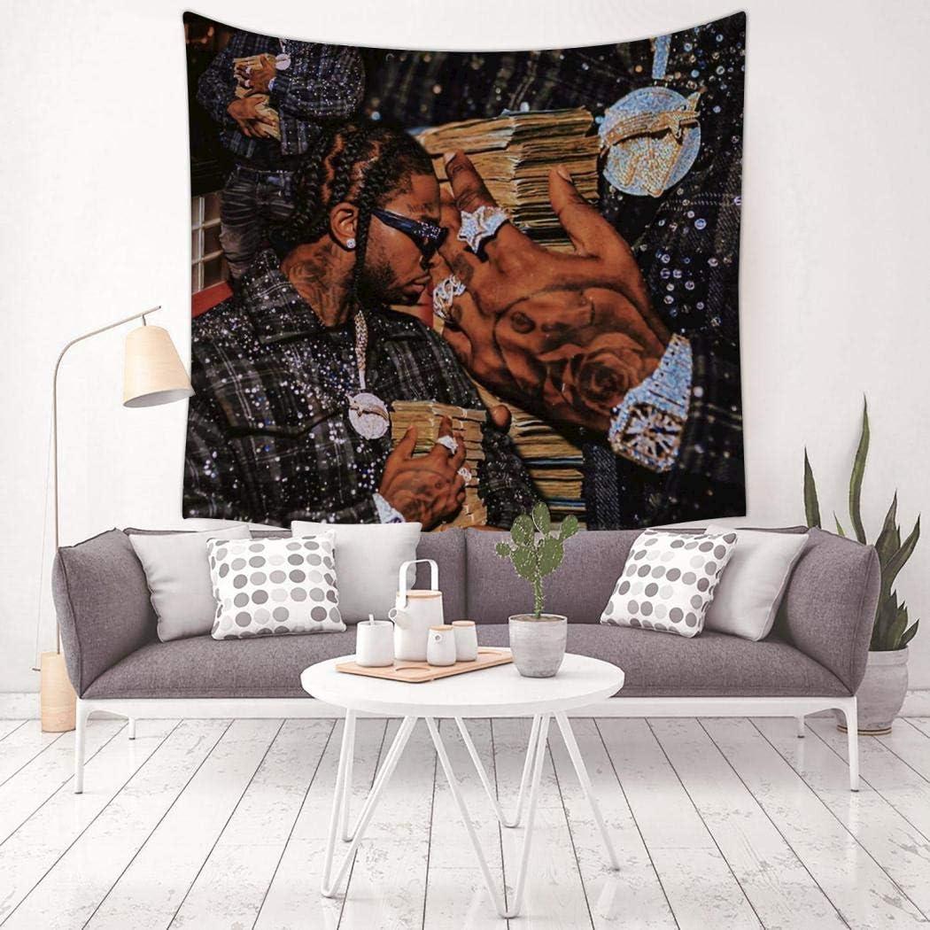 TIFOUTY Pop Rap Smoke Tapestry Curtain Wall Hanging Art Bedroom Living Room Wall Decor 59.1 X 59.1 Inch