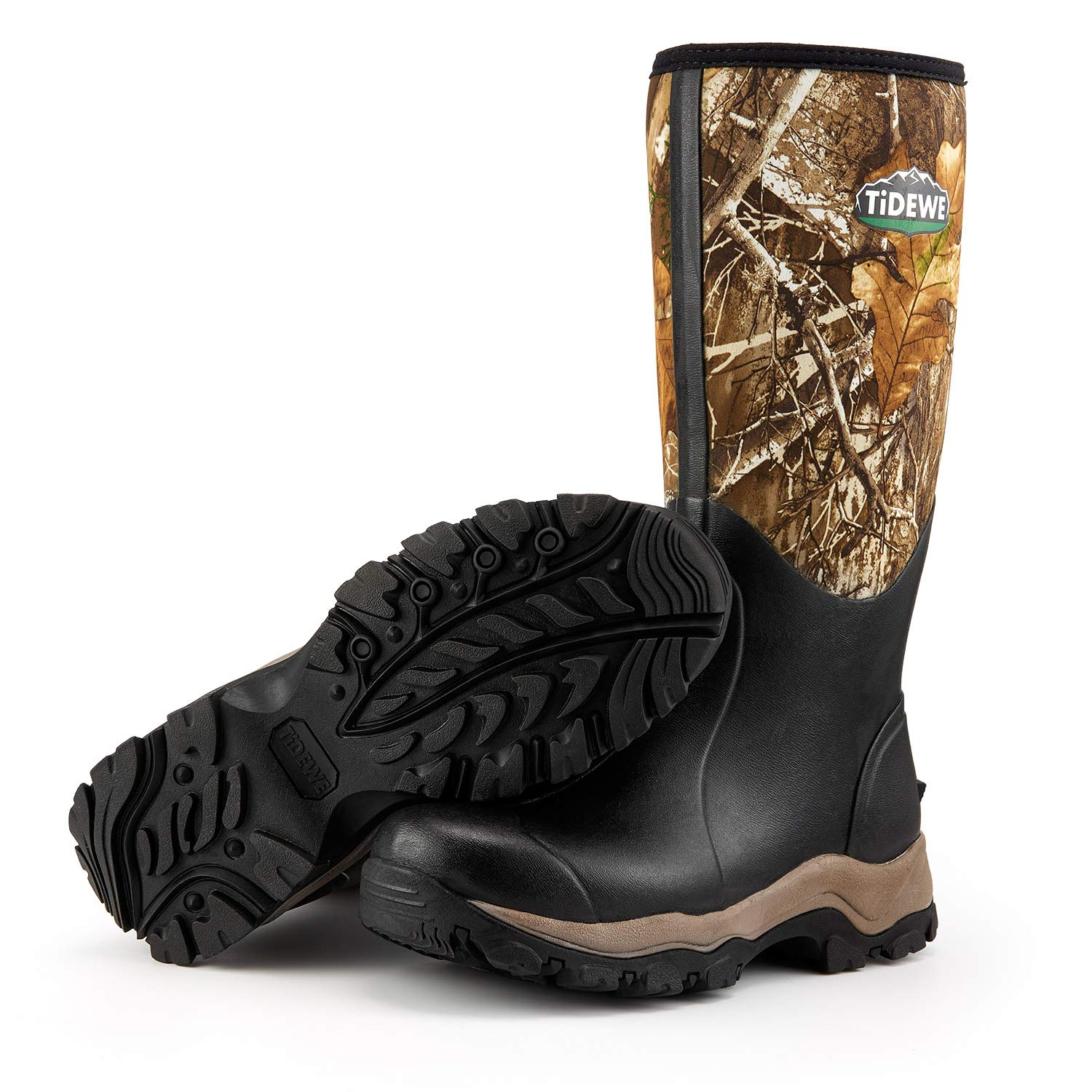 TideWe Hunting Boot for Men, Insulated Waterproof Durable 16'' Men's Hunting Boot, 6mm Neoprene and Rubber Outdoor Boot Realtree Edge Camo US Size 10 by TideWe