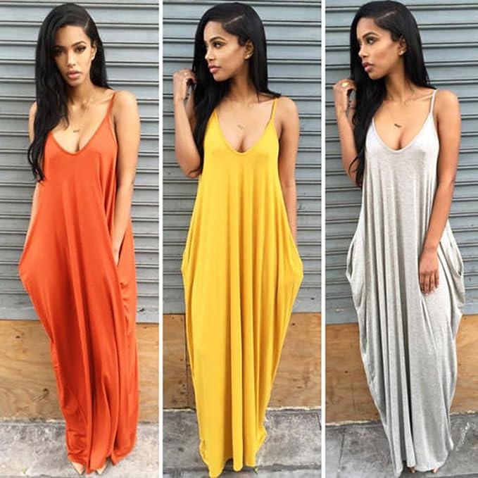 6ff96e86355 Sunward(TM) Sexy Gallus Women Summer Boho Long Maxi Beach Dresses at Amazon  Women s Clothing store