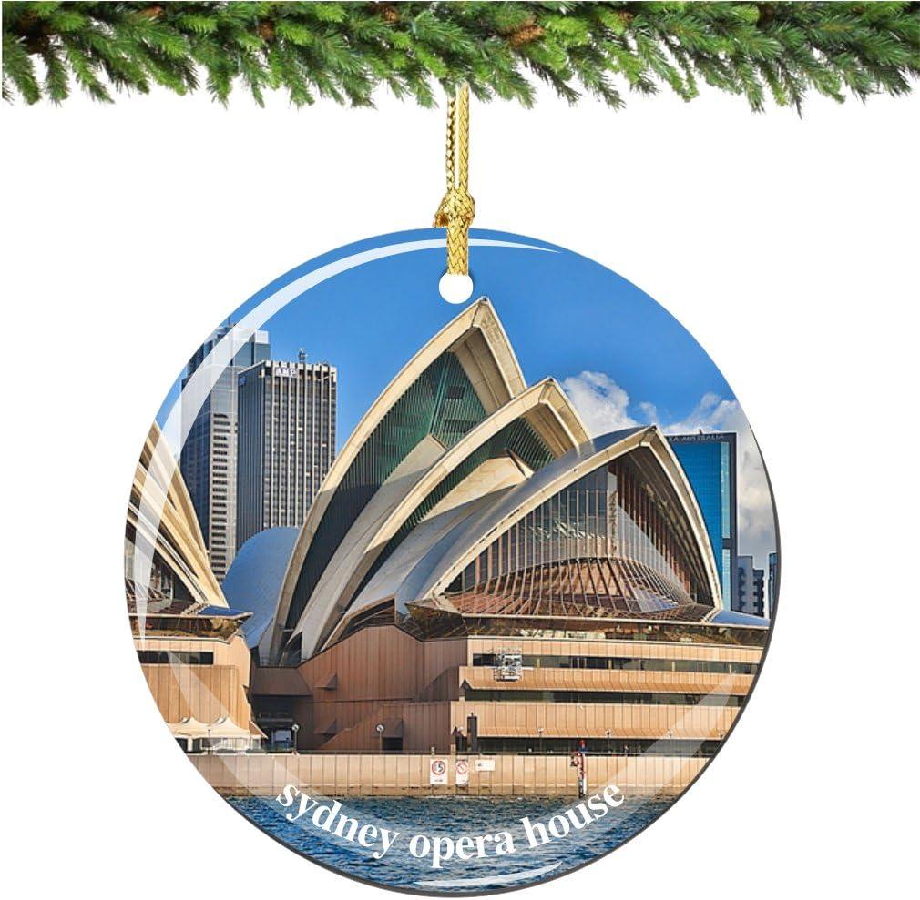 Amazon Com City Souvenirs Sydney Opera House Christmas Ornament Australian Porcelain 2 75 Double Sided Sydney Christmas Ornaments Home Kitchen
