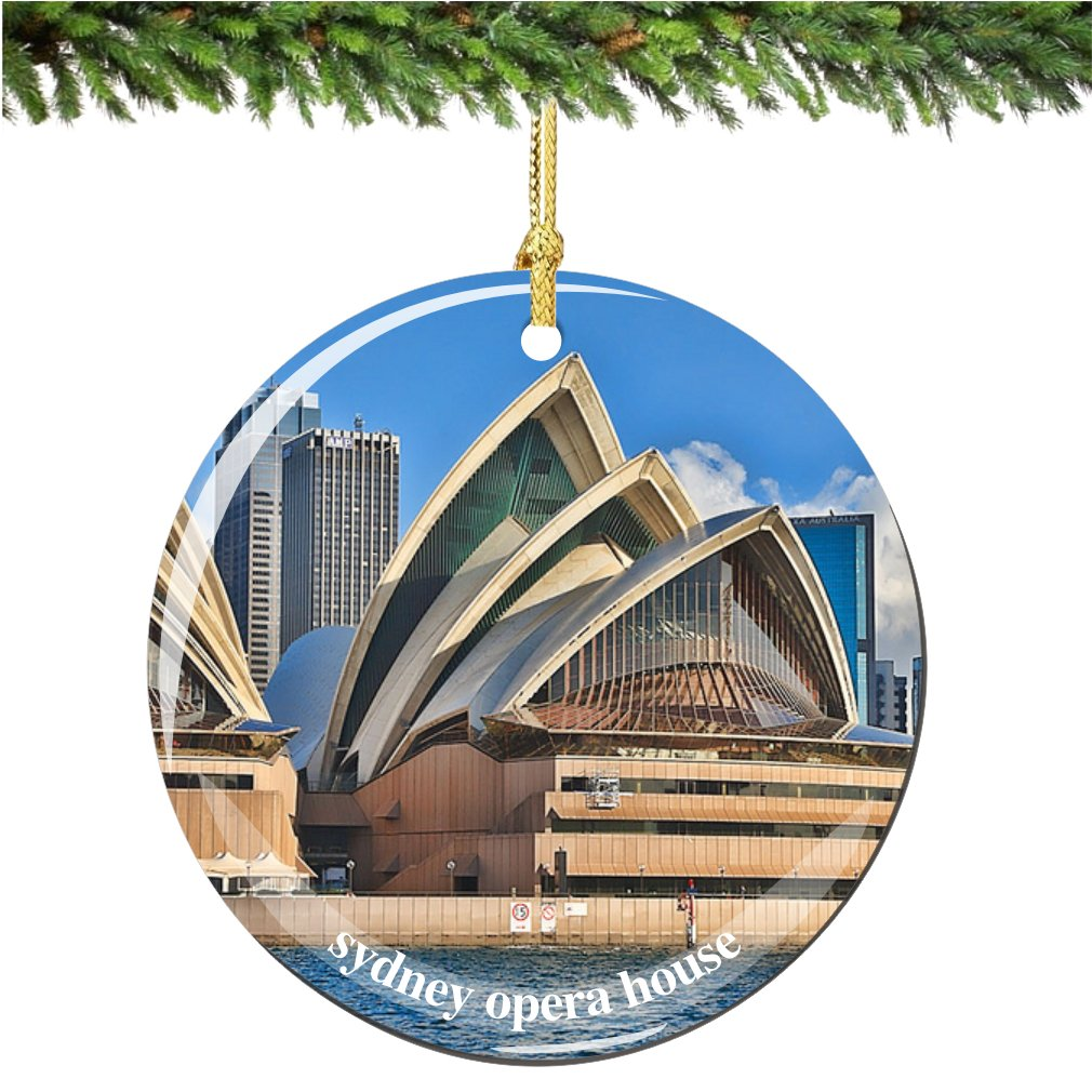 amazoncom sydney opera house christmas ornament australian porcelain 275 double sided sydney christmas ornaments home kitchen - Christmas Decorations Australia