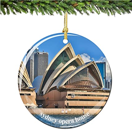 City Souvenirs Sydney Opera House Christmas Ornament Australian Porcelain 2 75 Double Sided Sydney Christmas Ornaments