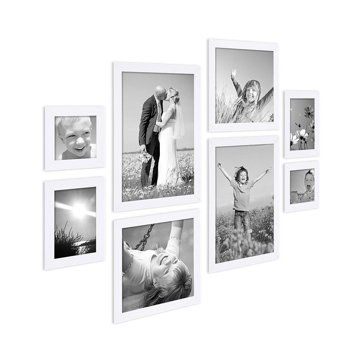 8er-Set Bilderrahmen Weiss Modern aus MDF je 2 mal 10x10 10x15 20x20 ...