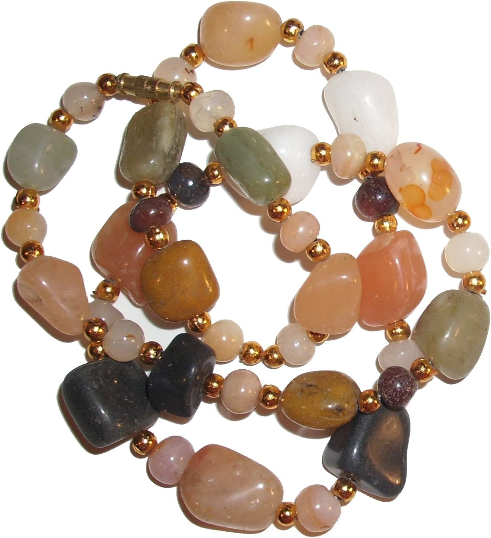 Collar de ágatas piedras coloridas pulidas piedras semi preciosas gemas curativas 45 cm